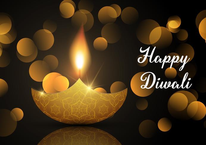 Fundo de lâmpada de Diwali com luzes de bokeh vetor