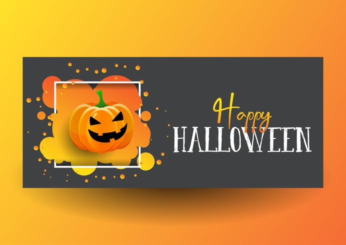 Disegno della bandiera di Halloween con zucca carina vettore