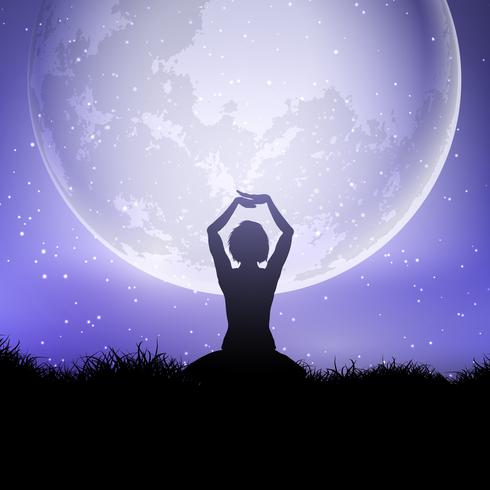 Female in yoga pose against a moonlit sky vector