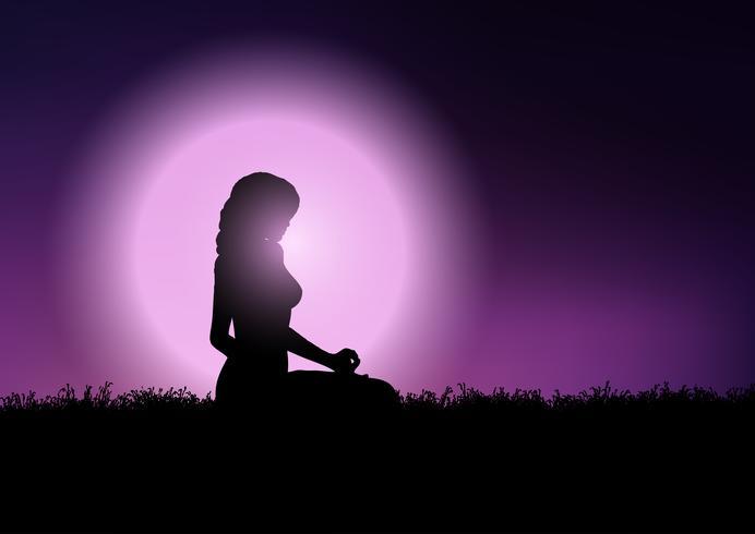 Femmina in posizione yoga nel cielo al tramonto vettore