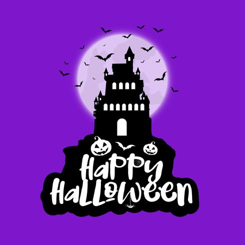 Halloween Spooky House.Halloween Background With Spooky House Against Moon