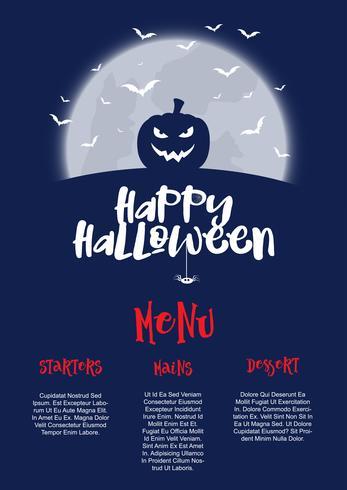 Diseño de menú de halloween vector