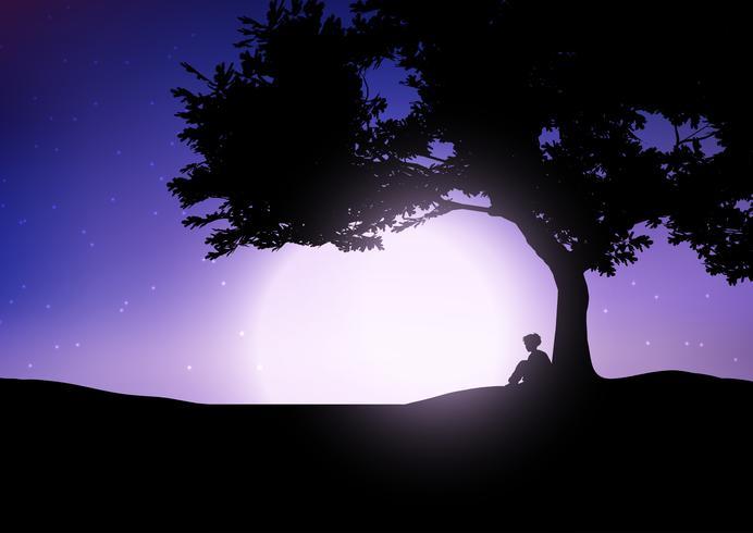Menino, sentando, contra, um, árvore, contra, um, céu noite vetor