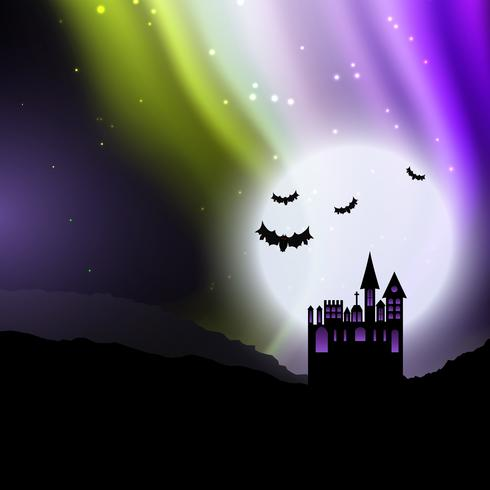 Halloween background with spooky house and northern lights  vector