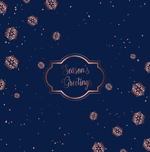 Rose guld och blå julkort design