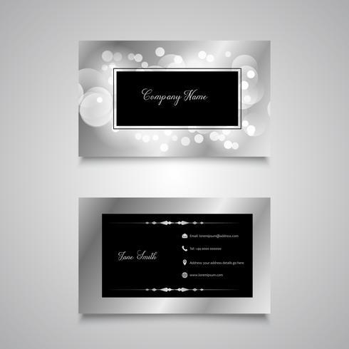 Bokeh lights business card design vector