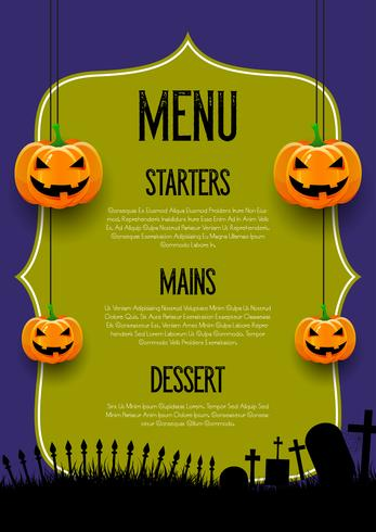 Spooky Halloween menu design vector