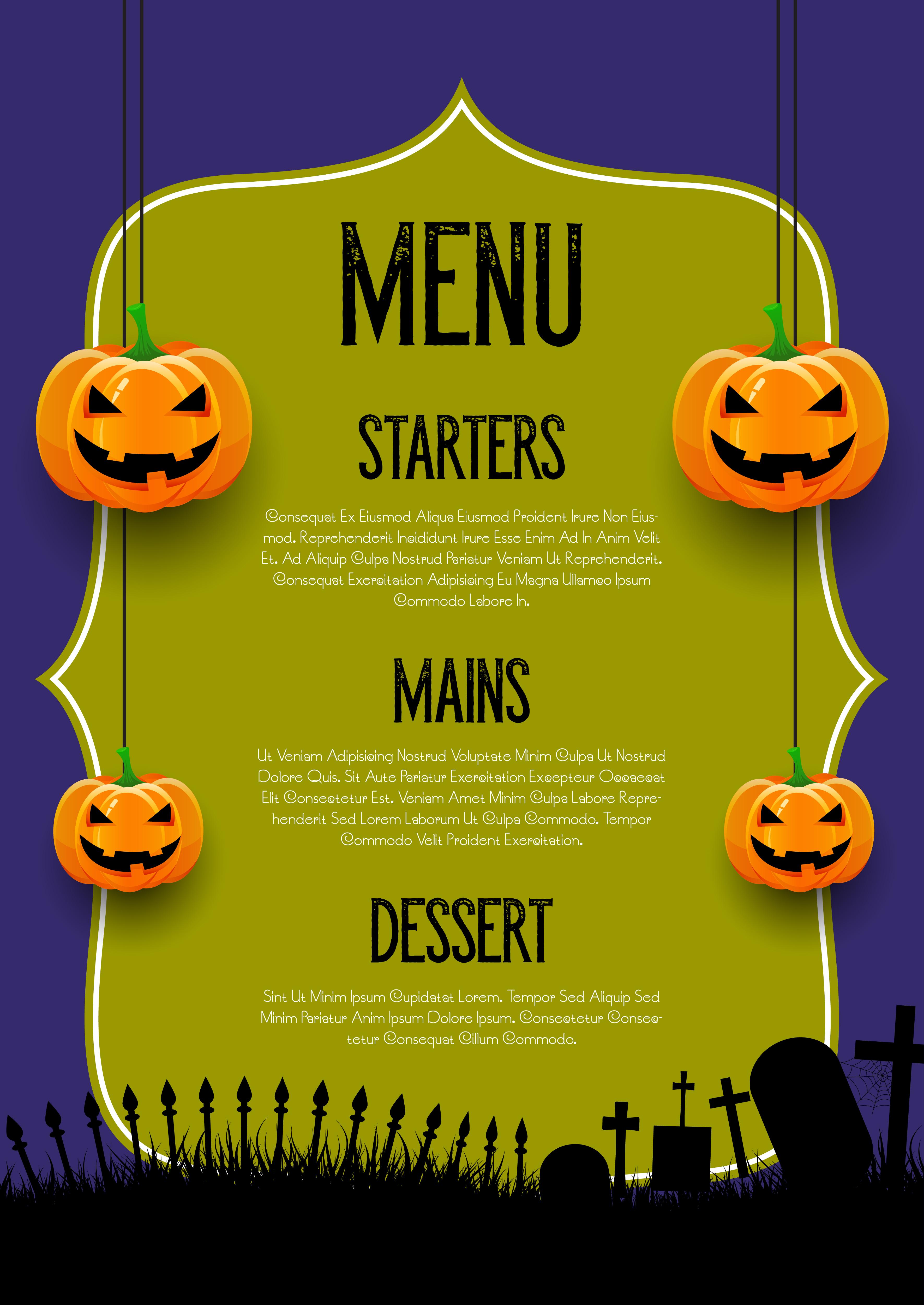 Spooky Halloween menu design - Download Free Vectors ...