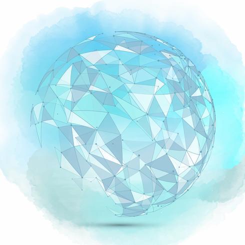 Fondo de esfera abstracta en una textura de acuarela