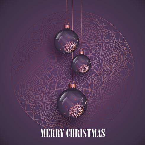 Hangende kerstballen op een decoratief mandala-ontwerp