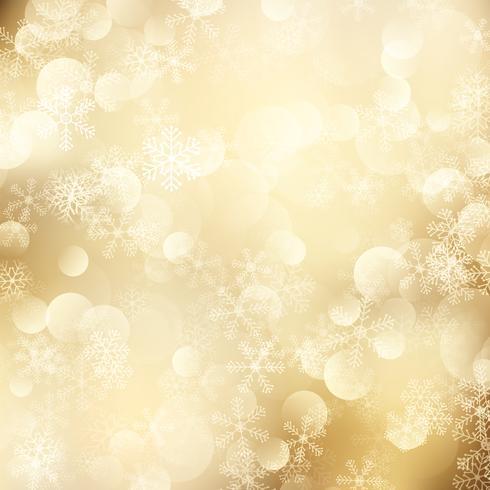 Sfondo di Natale di fiocchi di neve dorati vettore
