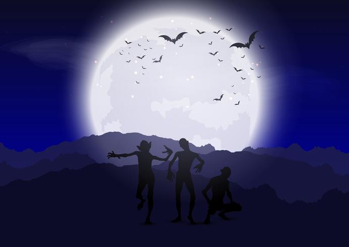 Zombies d'Halloween contre le ciel au clair de lune