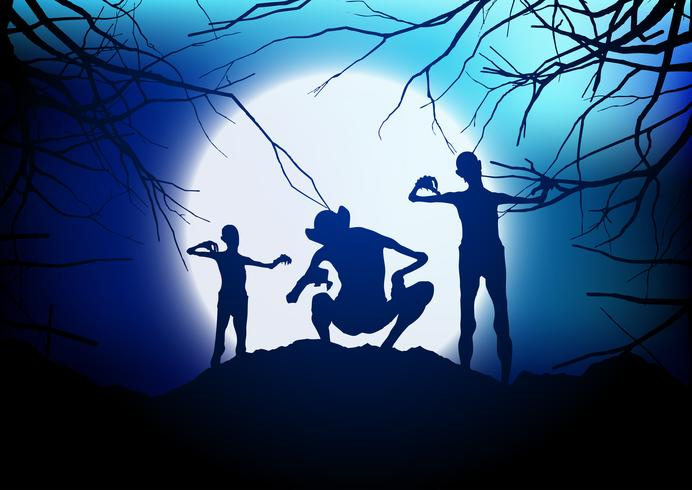 Halloween demons against a moonlit sky  vector