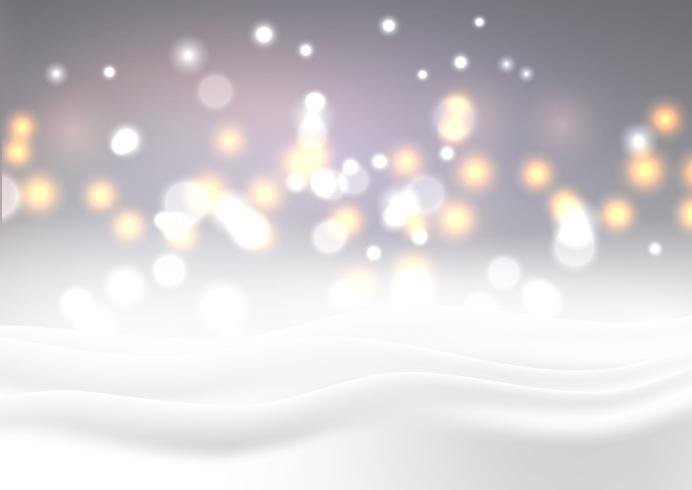 Paysage enneigé de Noël avec des lumières de bokeh vecteur