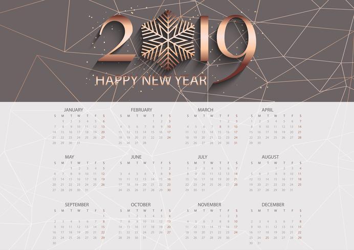 Design de calendário de baixo poli rosa ouro