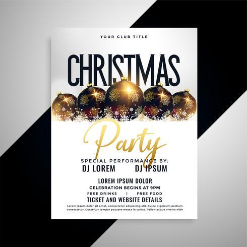 diseño de carteles de lujo bolas de navidad flyer
