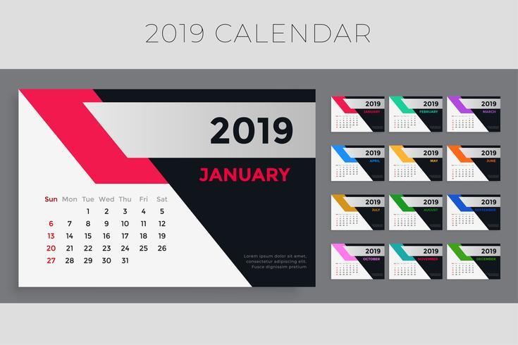 design del modello di calendario 2019 creativo