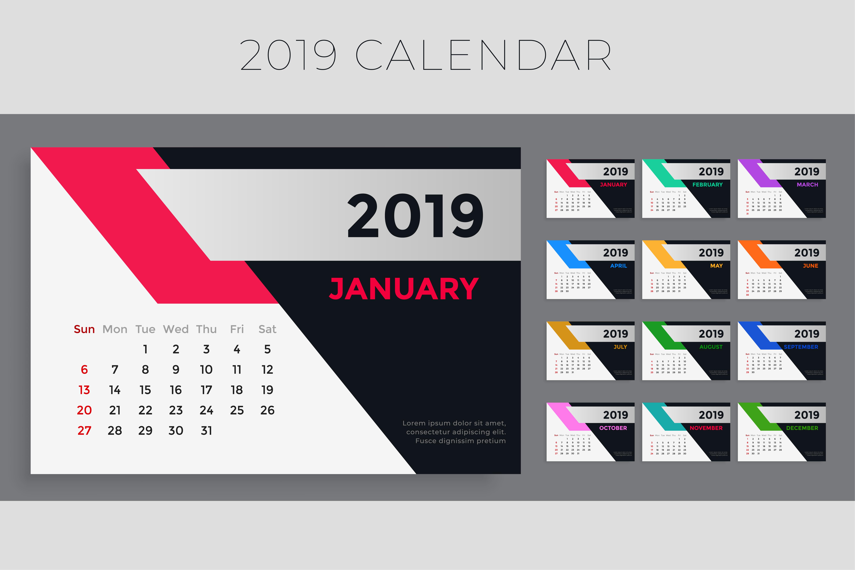 creative 2019 calendar template design