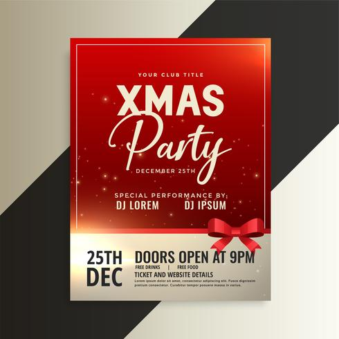 red christmas party flyer with shiny ribbon