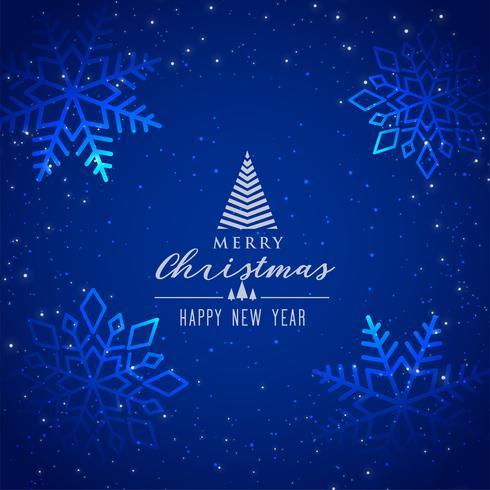 vacker blå snöflingor bakgrund för god jul