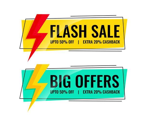 två försäljnings banderoller med erbjudanden detaljer