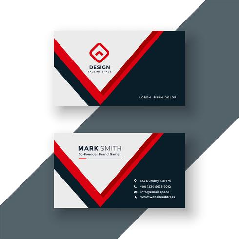 moderno design geometrico rosso biglietto da visita