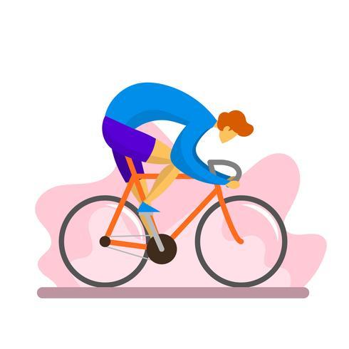 Flat Modern Boy Rides Single Speed Bicycle Vector Illustration