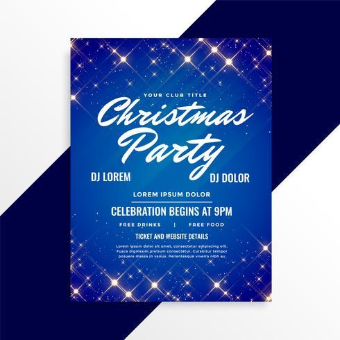 härlig glitter jul flygblad på blå bakgrund