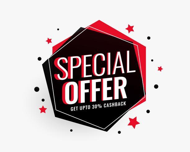 banner de venda de oferta especial em forma hexagonal com estrelas