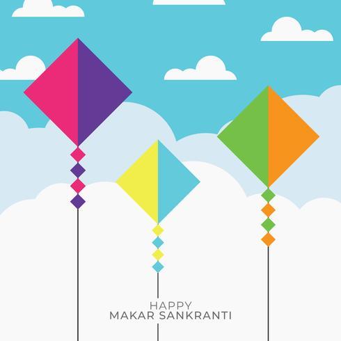 Flat Sky med drakar för Makar Sankranti