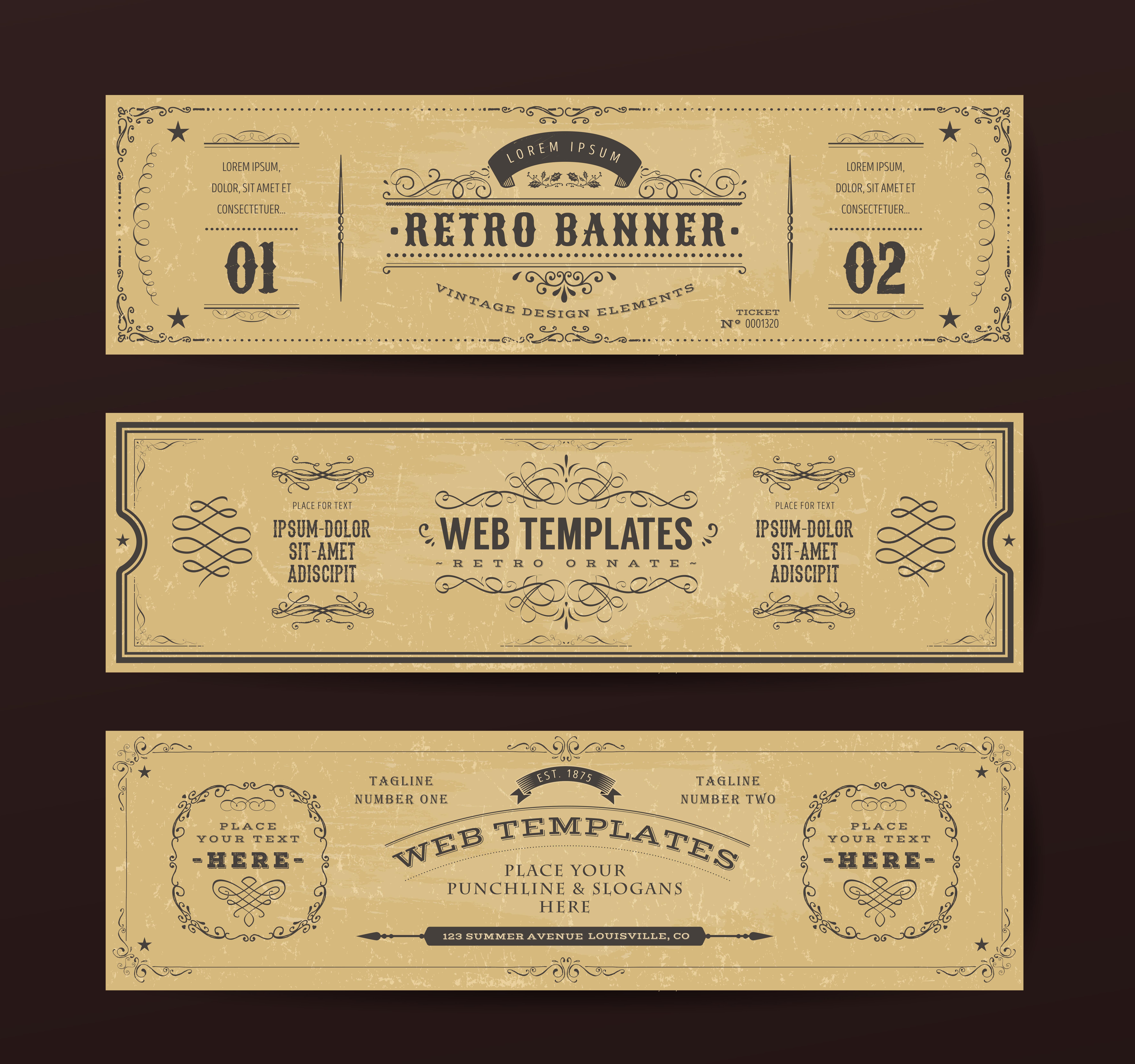 Vintage Website Banners Templates 267661