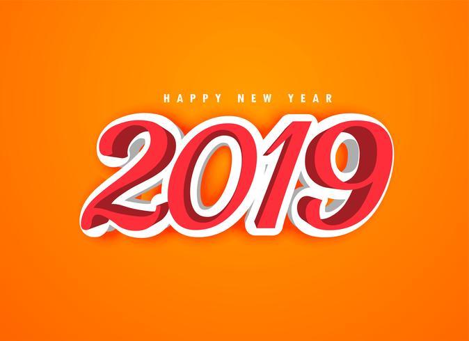 Gelukkig Nieuwjaar 2019 in 3D-stijl