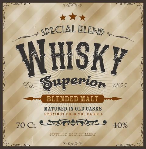 Etichetta di whisky per bottiglia