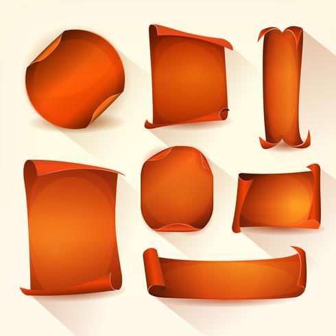 Set di scudetti arancioni e pergamena