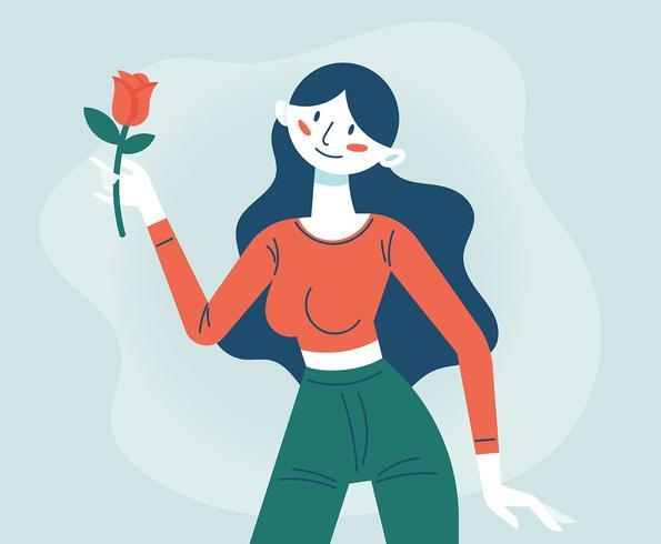Menina com flores vetor
