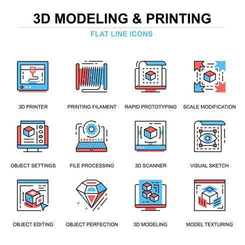 3D-printen en modelleren van pictogrammen instellen vector