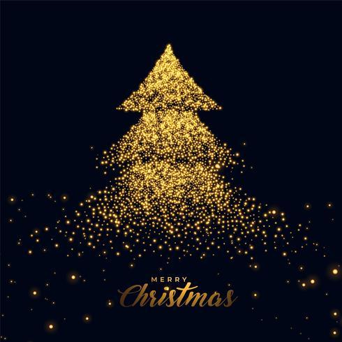 julgran med gyllene gnistrar