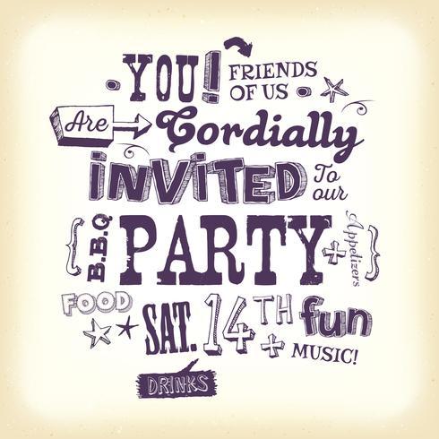 Affiche Vintage Invitation de fête avec lettrage à la main