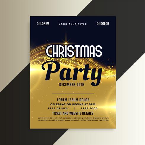 modelo de folheto de festa de convite de Natal premium dourado brilhante