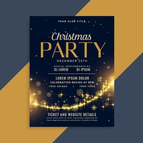 shiny christmas golden sparkles party flyer design template