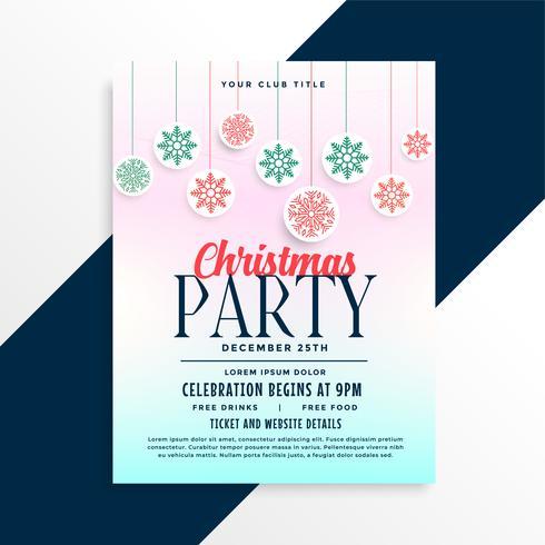 Buon disegno di poster festa di Natale con palle di fiocchi di neve