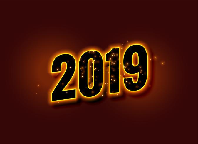 felice anno nuovo sfondo incandescente 2019