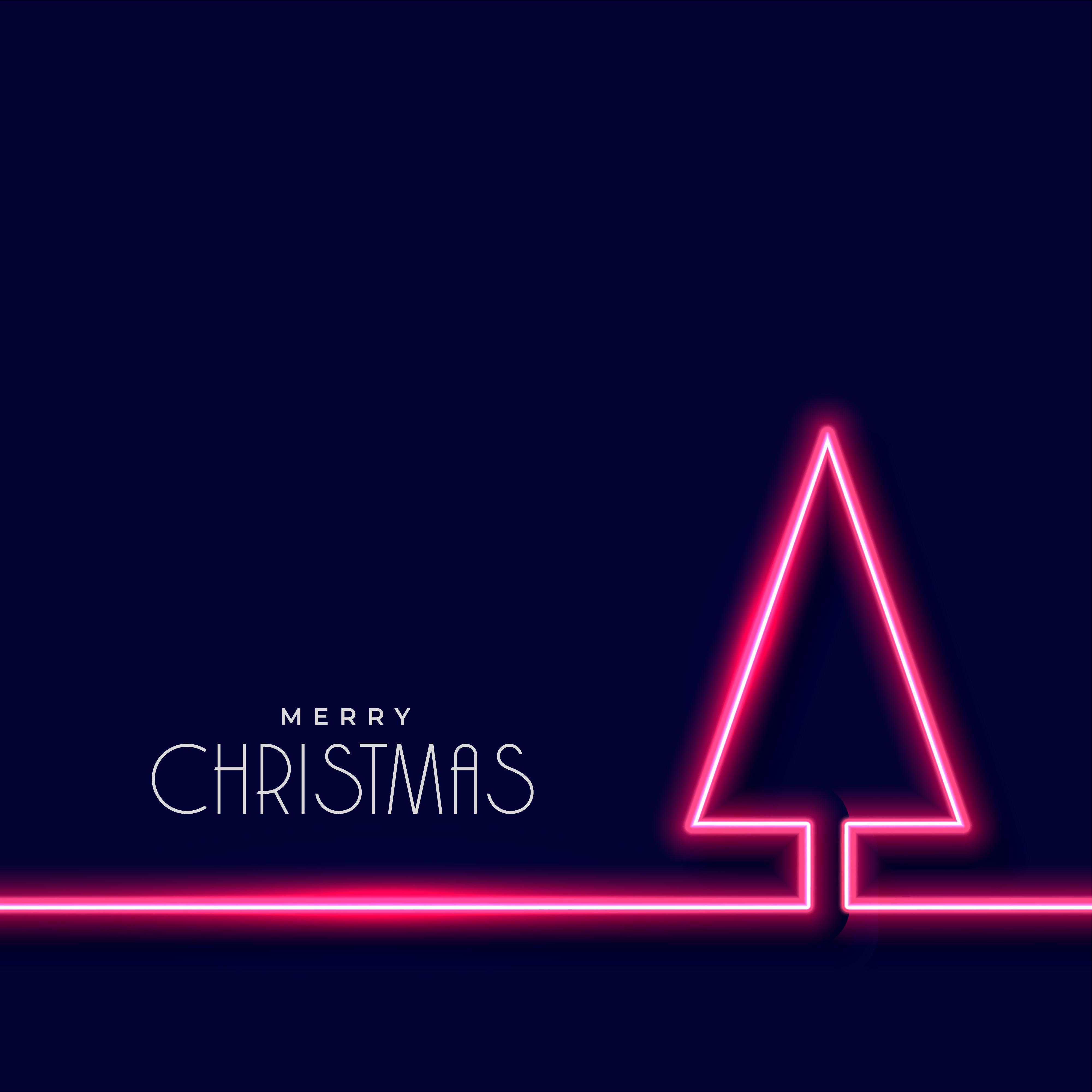 neon christmas tree on dark blue background - Download ...