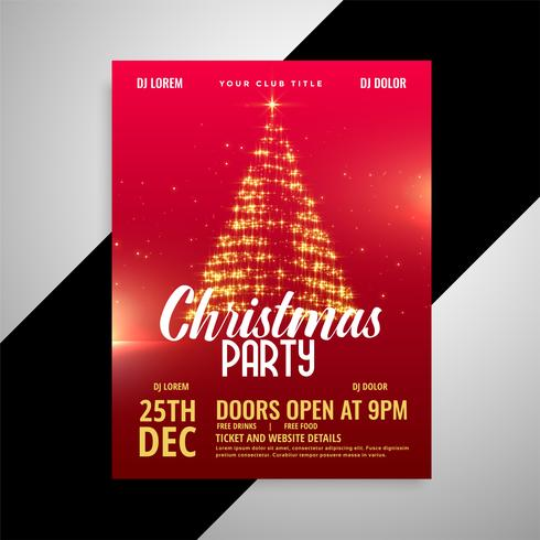 Plantilla de diseño de cartel de fiesta de Navidad brillante rojo
