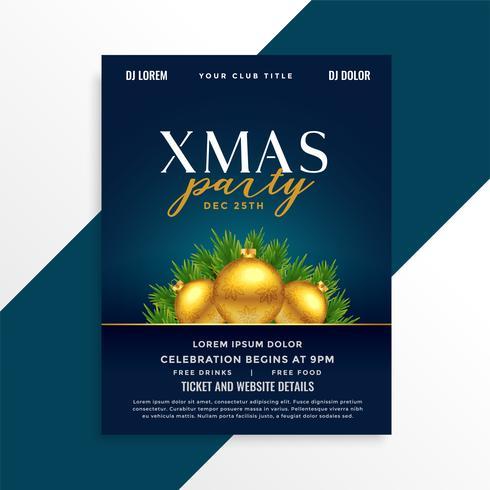 Diseño hermoso del cartel del acontecimiento de la fiesta de Navidad con las bolas de oro