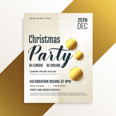elegante volantino festa di Natale con palle d'oro