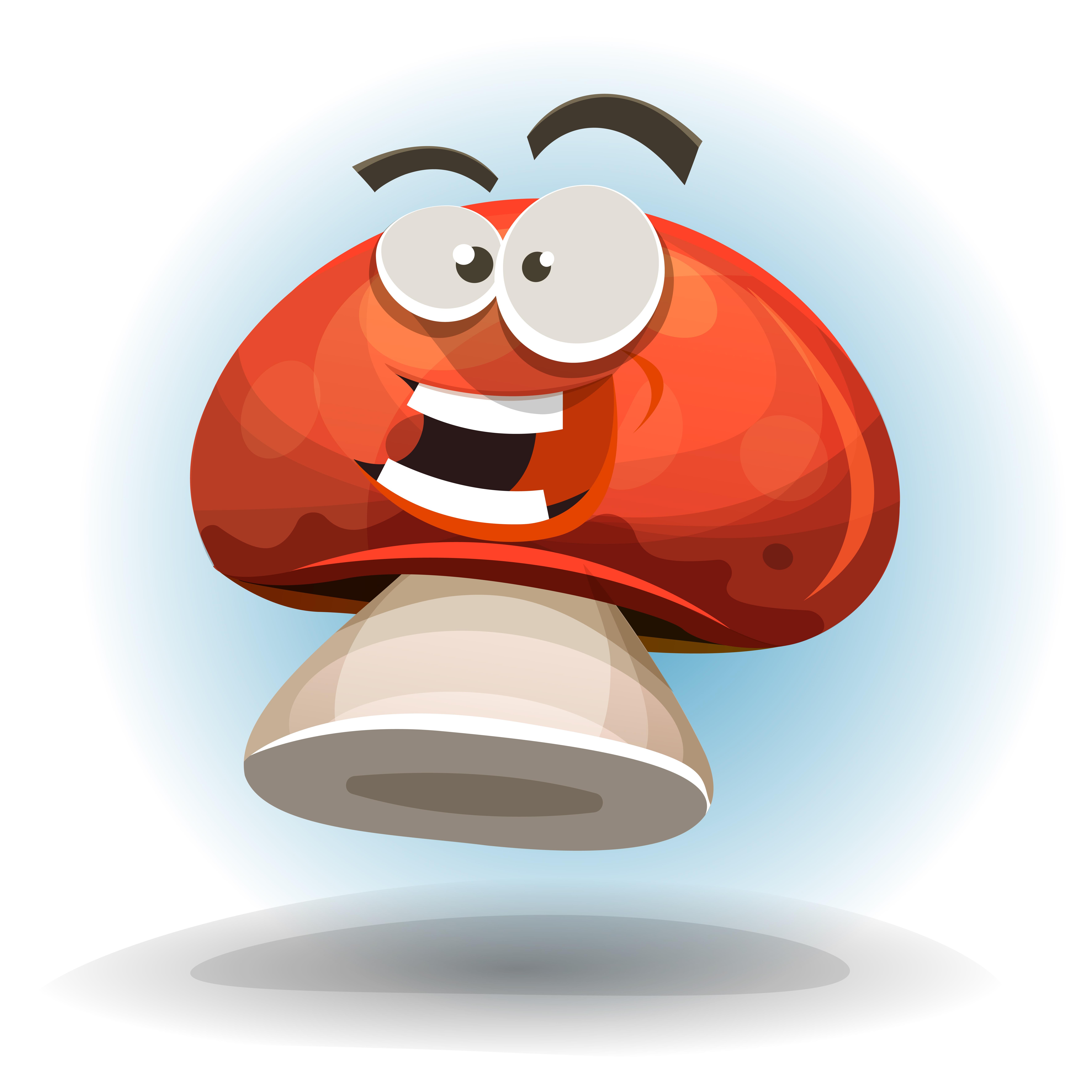 Cartoon Funny Mushroom Character - Download Free Vector ...