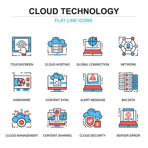 Icona della tecnologia cloud SEt vettore