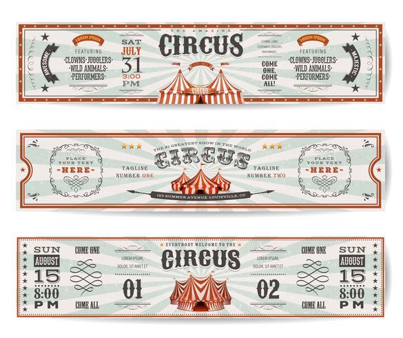 Modelli di banner sito Web di circo d'epoca