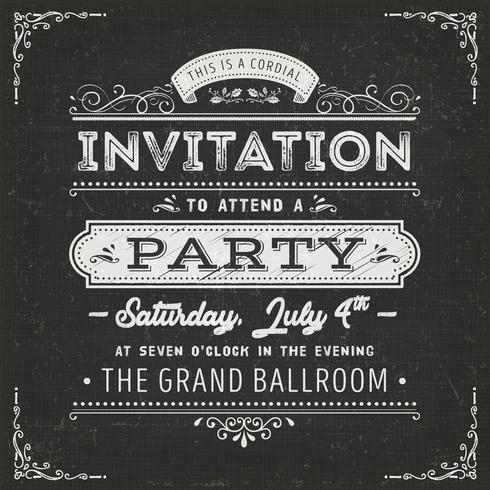 Cartão de convite de festa vintage na lousa
